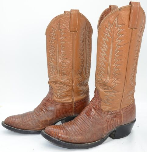 Vintage, USA, Mens, Sz, 8.5, Lizard, Skin, Leather, Western, Cowboy, Riding, Working, Boots