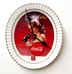 NEW OVAL SHAPED  COCA COLA  PLATE WALL CLOCK 12 X 10