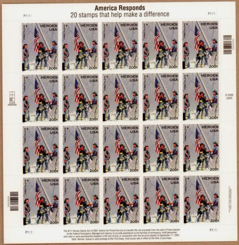 America Responds 9/11 9-11 Heroes Of 2001 Firefighters Sheet 20 Mnh Stamps B2