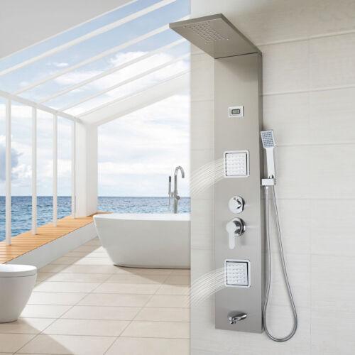 Thermostatic Bathroom Rainfall Shower Panel  w// Massage Jets Shower Wall UK