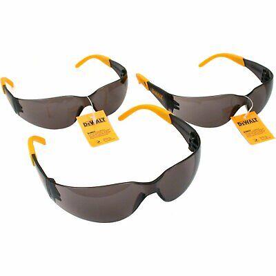 3 Pair Set Dewalt Protector Smoke Lens Safety Glasses