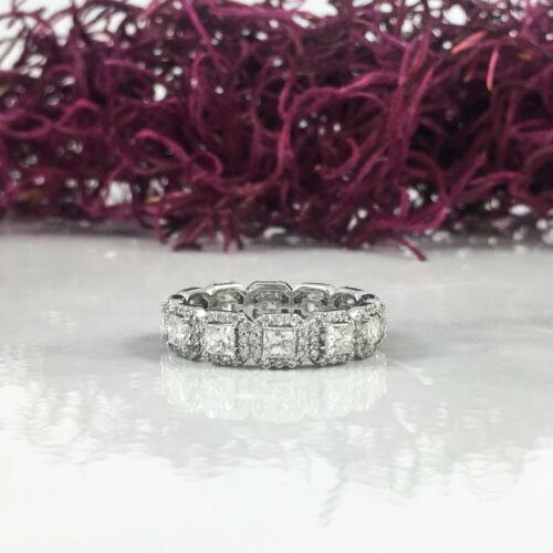2.63CT 18K White Gold Princess Cut Diamond Eternity Ring
