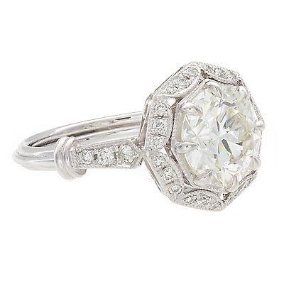 2.48ct Round GIA Certified Vintage Platinum Diamond Engagement Ring 1