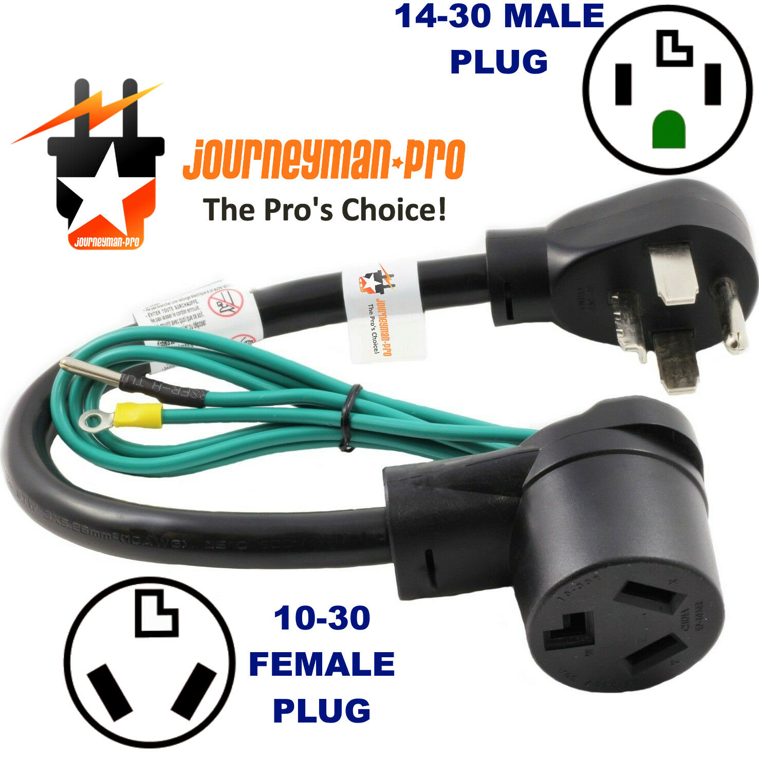 NEW MALE 14-30P 4-PRONG PLUG to OLD 10-30R 3-PIN FEMALE RECEPTACLE DRYER ADAPTER