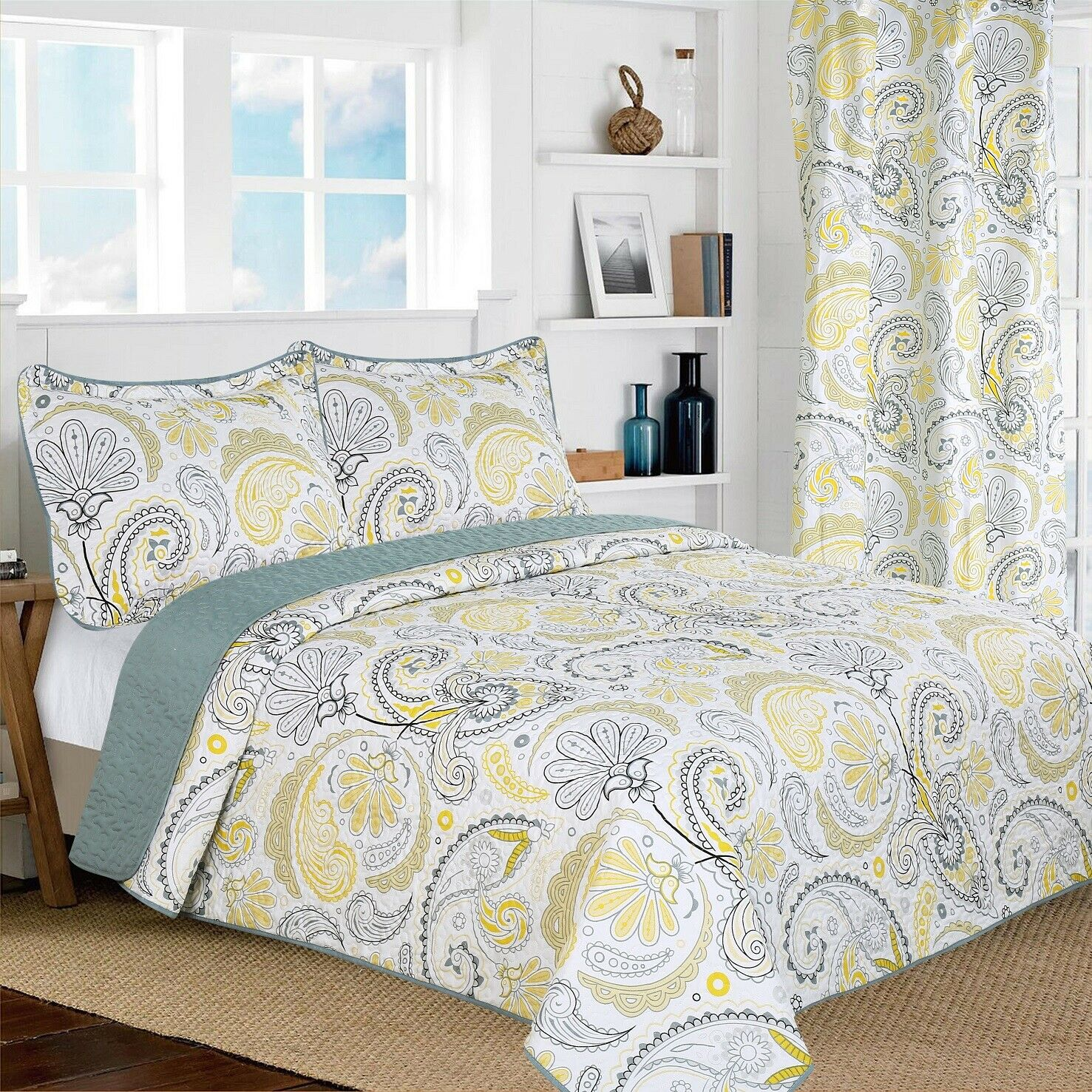 yellow grey paisley printed reversible bedspread quilt