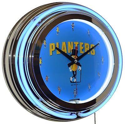 "Classic Planters MR. Peanut 15"" Blue Double Neon Advertising Clock Kitchen Decor"