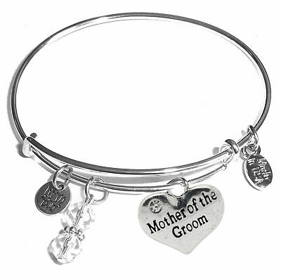 Mother of the Groom, Message Charm Expandable Bangle Bracelet, Gift Box! ](Mother Of Groom Gift)