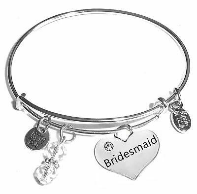 Bridesmaid, Message Charm Expandable Bangle Bracelet, Comes In A Gift Box! - Message Bracelets
