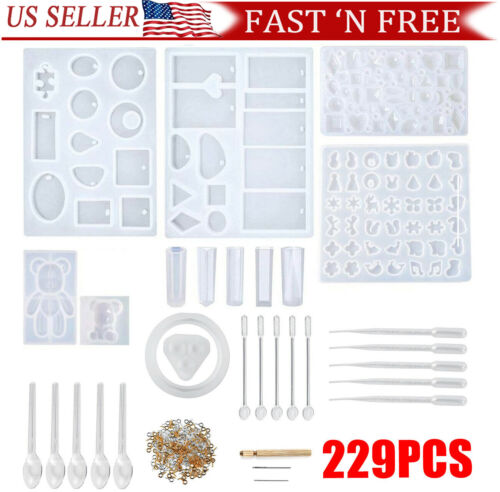 229Pcs Resin Casting Molds Kit Silicone Making Jewelry DIY P