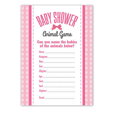 Baby Shower ANIMAL Game  - 16 A6 Size - Fun Girls Pink Bow Theme Game for Guests](Baby Shower Themes For A Girl)