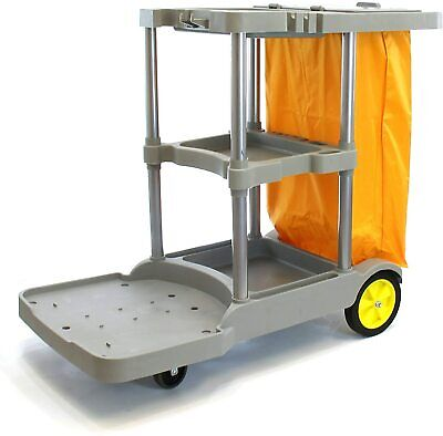 Commercial Janitorial Cart Heavy-duty 25 Gallon Yellow Bag With Cover.