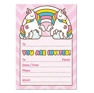 UNICORN Theme Invitation - 16 A6 Cards - Ideal for Kids Girls Birthdays / Party - Themes For A Girl Birthday Party