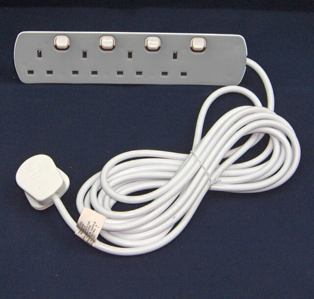 5 Metre 4 Way Grey Individually Neon Switched Sockets UK Mains Extension Lead