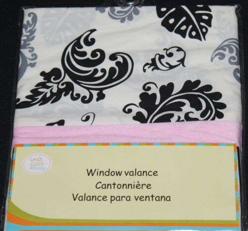 Laugh Giggle & Smile Versailles Pink Black Window Valance 54x15 new