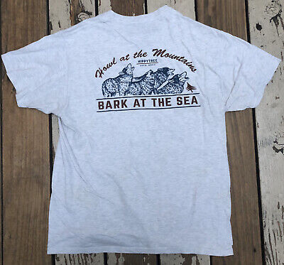 HippyTree HOWL AT THE MOUNTAINS, BARK at THR SEA Men's Shirt size LARGE
