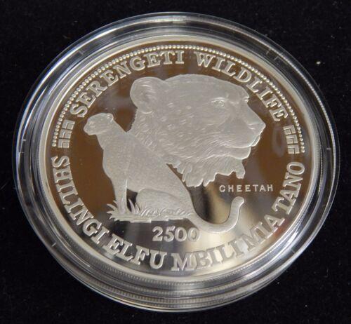 1998 Tanzania 2500 Shilingi Cheetah 5 oz Silver