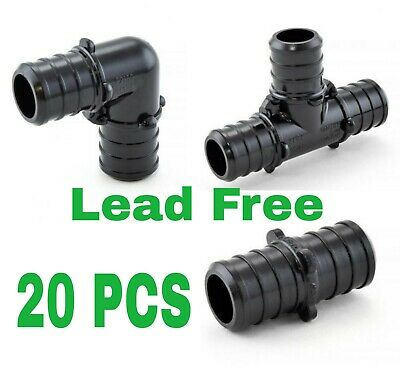 20 - 12 Pex Poly Alloy Crimp Tees Elbows Coupling Fittings  Lead-free