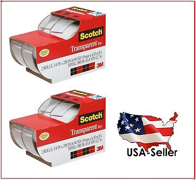 2 Lots Of 2ea 3m Scotch Clear Office Transparent Tape 34 250 4 Tapes Total