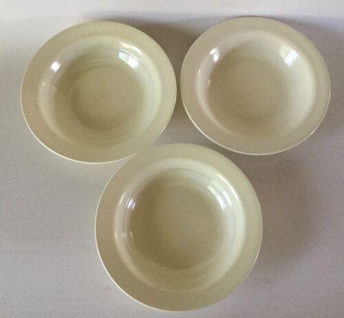 "3 Rimmed Soup Bowls 8 1/4"" Vernon Kilns Ware Straw Yellow MODERN CALIFORNIA htf"