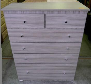 New Bedroom 6 Dr Chest of Drawers Tallboy Storage Ceramic Wood