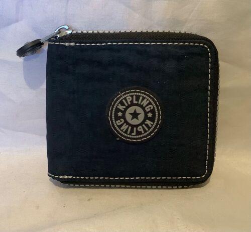 Vintage Kipling 1990's Folding Zip Around Wallet Navy Blue Unisex