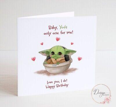 Baby Yoda Birthday Card - Mandalorian Boyfriend Husband Wife Girlfriend