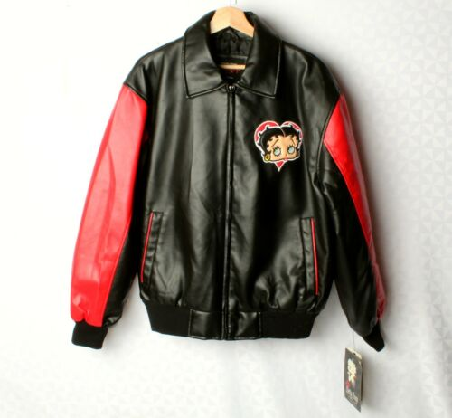 *Authentic Apparel Betty Boop Faux Black Leather Jacket Size M