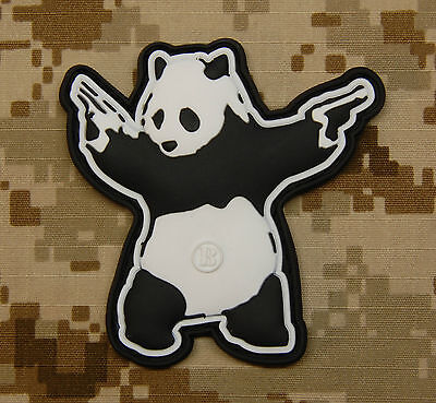 3D PVC Panda With Guns Shooting Panda Rubber Patch VELCRO® Brand Hook Backing