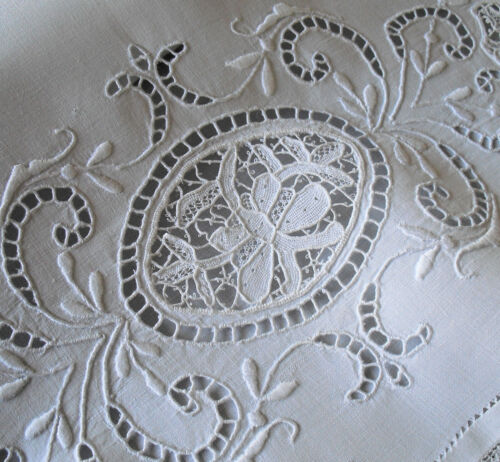 Vtg Antique Linen Pillowcase w/ Needle Lace Whitework Embroidery & Filet Lace