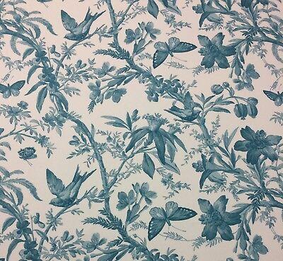 P Kaufmann Indigo Bunting Spa Blau Vogel Schmetterling Blumen Stoff von 54 W