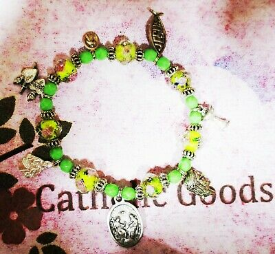 7 different Medals of Jesus Bracelet, pewter with Green + Yellow Glass Beads