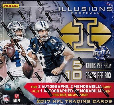2017 Panini Illusions Football sealed hobby box 10 packs of 5 cards 3 auto