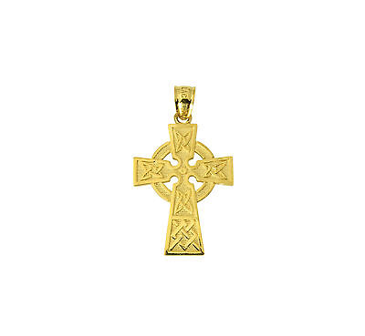 14K Solid Real Authentic Yellow Gold Religious Celtic Cross Charm Pendant ()