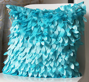 Cut Fall leaves Feather PILLOW CASES CUSHION COVERS Light Turquoise  43cm