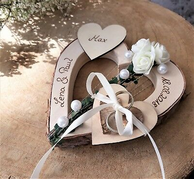 Herz Ringkissen Brautpaar mit Kind Holzherz mit Namen für Eheringe Hochzeit