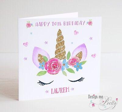 Unicorn Birthday Card - PERSONALISED UNICORN Girls Birthday Card - Name Age Daughter Granddaughter