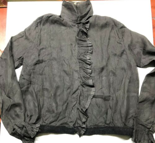 Antique Black Victorian Blouse With High Collar