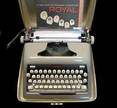 Vintage MCM 1958 Mad Men Royal Futura 800 Portable Manual Typewriter Works Case