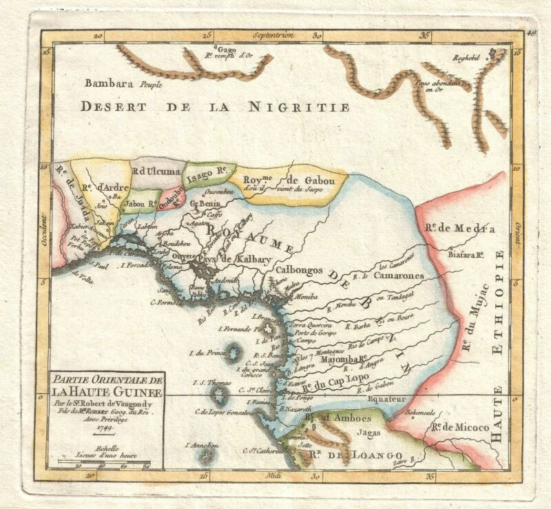 1749 Vaugondy Map of West Africa