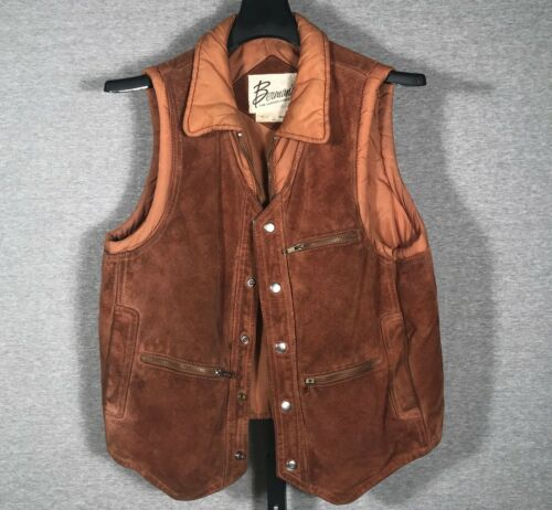 Vintage Sz 40 L Bermans Leather Vest 70s Brown Suede 80s Western Cowboy Puffer