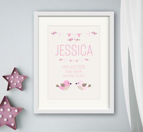 GIRL New birth Newborn Personalised baby print Christening Gift Nursery Wall Art