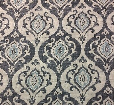 Ballard Designs Arryanna Slate Mineral Blue Cream Damask Fabric By The Yard 54 W