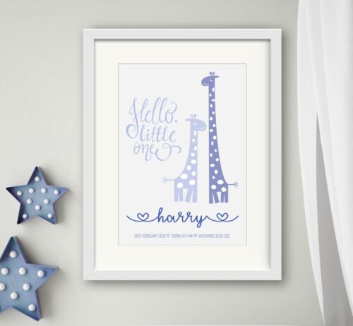 BOY New birth Newborn Personalised baby print Christening Gift Wall Art Giraffe
