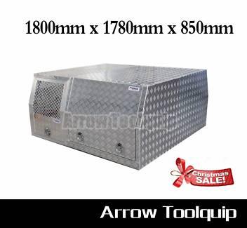 Aluminium Dual Cab Ute Canopy Dog Cage Toolbox - 1800x1780x850mm