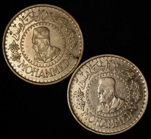 Pair of 1956 Morocco 500 Francs (.900 Silver Coins) - Free Shipping USA