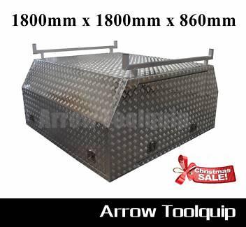 1800x1800x860mm Aluminium Dual Cab Full Cover Canopy Toolbox