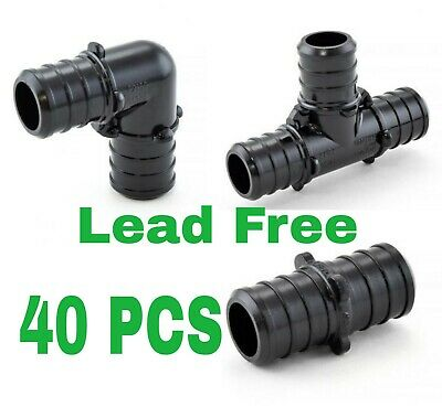 40 - 12 Pex Poly Alloy Crimp Tees Elbows Coupling Fittings  Lead-free