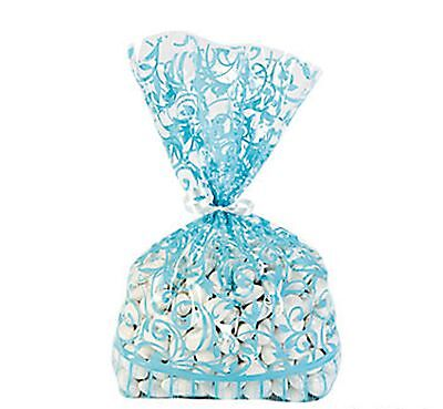 36 Aqua Blue Swirl CELLO cellophane Loot BAGS Wedding Party supplies favors (Aqua Party Supplies)