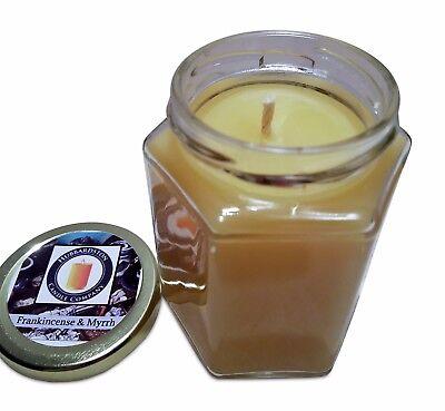 Myrrh Scented Candle (Frankincense & Myrrh Scented 100 Percent  Beeswax Jar Candle, 8 oz  )