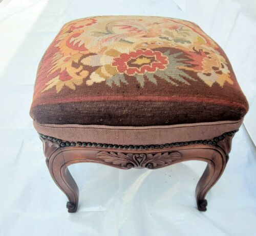 Vintage French Needlepoint Wood Large Footstool Ottoman with Bird & Flower Motif